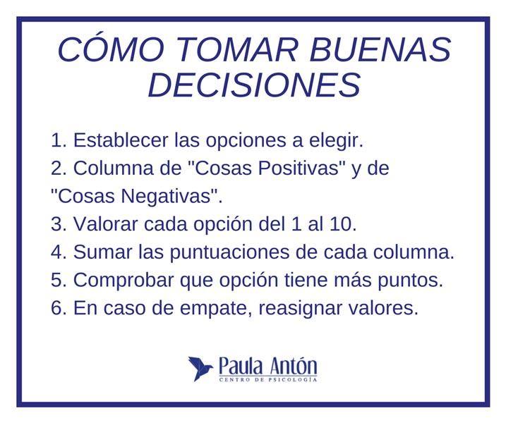 cómo tomar decisiones correctamente
